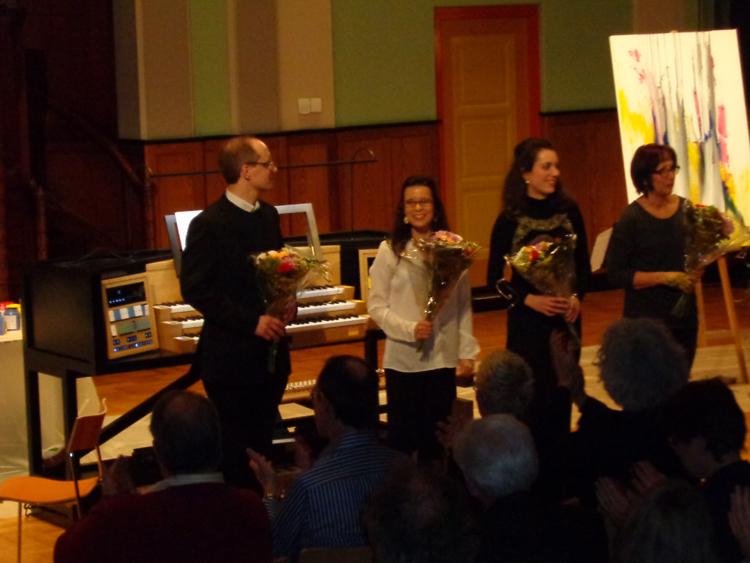 Orgelpark Amsterdam, fin de la performance, Pierre FARAGO, Anne-Gaelle CHANON, Raquele MAGALHAES et BENA