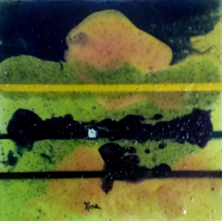 Bena , série Soleil Vert,toile 6, technique mixte sur toile, 20 x 20 cm